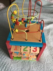 Large wooden activity cube babies and toddlers
