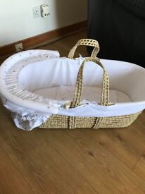 Moses basket and white baby bath