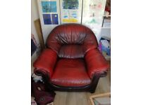 Comfy dark red leather armchair x 2