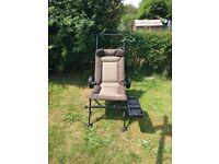Nash. Recliner with wheels and bait box tray. Excellent condition.