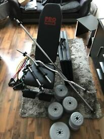 Weights and Bench + accessories