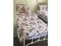 John Lewis cream single bed with Mattress
