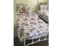 John Lewis cream single bed with Mattress