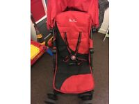 Red silver cross pop stroller