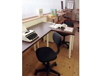 New: four desk spaces to rent on the mezzanine of a bright, creative studio