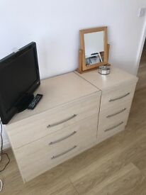 2 chest of drawer units for bedroom light beech colour