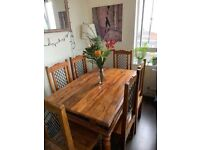 Indian Rosewood table and 6 chairs