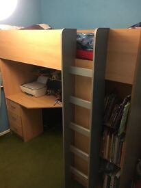 High Sleeper bed with wardrobe and desk