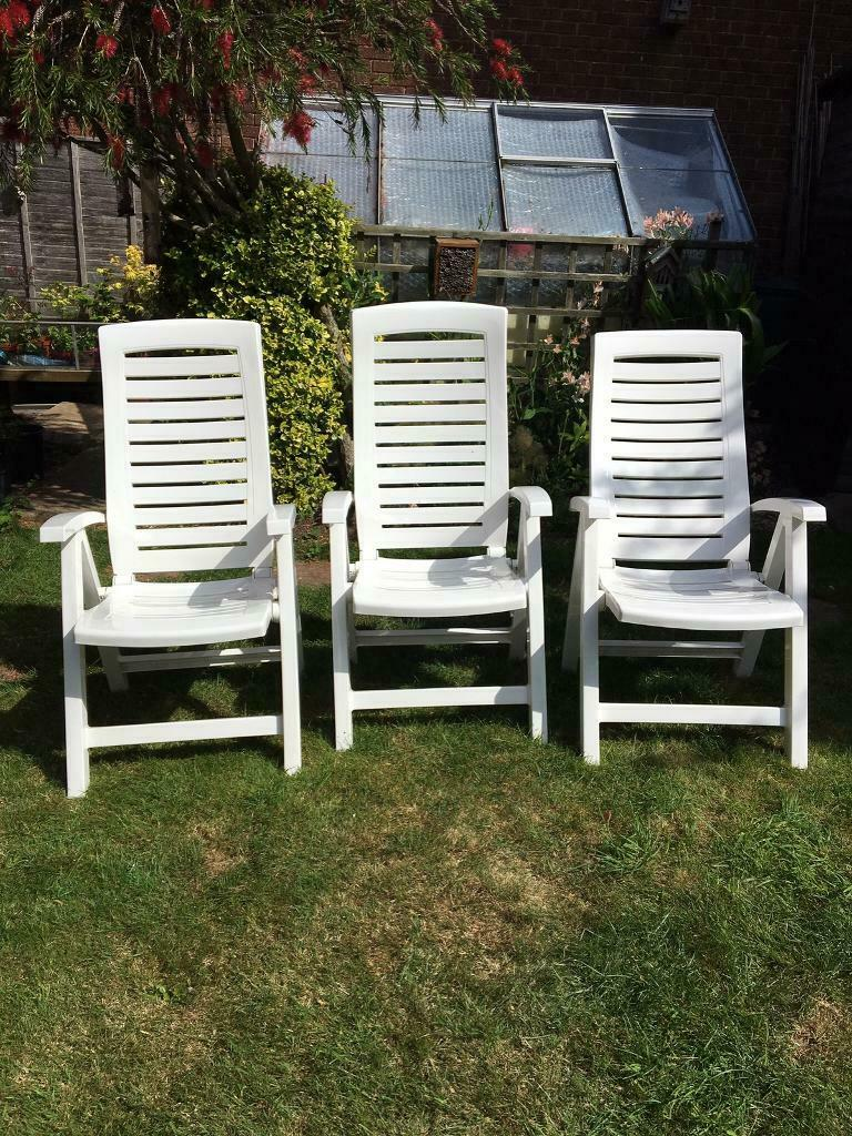 3 White plastic garden chairs   in Yeovil, Somerset   Gumtree