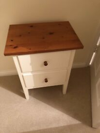 Bedside cabinet cream with wood top perfect condition I can deliver if you live local 07812980350