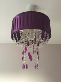 Purple faux silk light fitting and table lamp