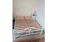 WROUGHT IRON JOHN LEWIS DOUBLE BED IN WHITE