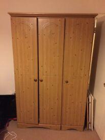 3 Door Solid Pine Wardrobe
