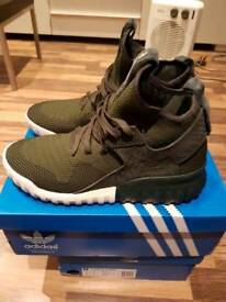 Adidas Originals Tubular x Knit S74932 Shadow Green UK8 USED WITH BOX (WORN TWICE)