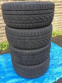 Four slightly used Winter tyres, Hancook 235/45R17 97H