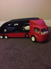 Truck and cars