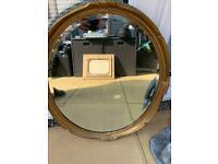 Antique carved gold guild bevelled mirror £15