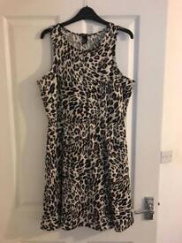 H&m leopard print skater dress size large £4