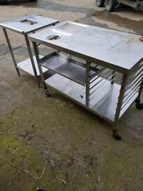 Stainless steel tables and sink