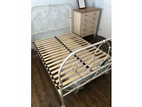 Double bed, metal, cream/white. High quality.