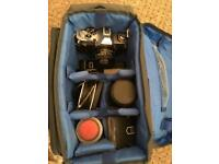 Old 35mm cameras x 2 with lenses & extras cannon