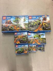 Brand new sealed Lego volcano set 30350,60120,60121,60122,60123,60124 & 60125