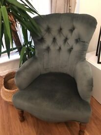 Teal Green/Jade velvet accent chair.