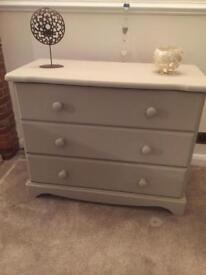 Solid pine painted 3 drawer chest