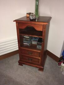 Rosewood cabinet for sale ideal for housing CD player and 2 drawers to hold cds