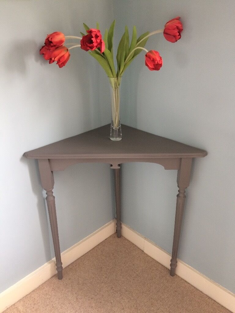 Corner Console Table corner console table painted vintage grey | in woodbridge, suffolk