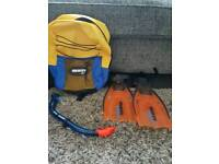 Kids Mares swim kit bag with snorkel and fins