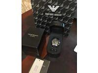 Armani black ceramic chronograph watch ar1400.