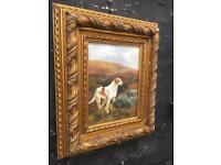 Fabulous oil on board painting of two gun dogs