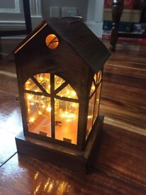 4 cute rustic mini-house lanterns with copper wire lights inside- perfect wedding decorations