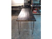 rustic reclaimed timber dinning / kitchen table on raw steel legs industrial chic surrey london