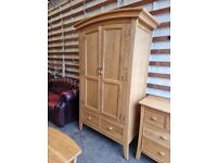 Barker & Stonehouse Solid Oak Wood Double Wardrobe (Delivery Available)