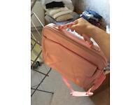 Pink leather laptop bag