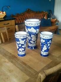 Set Of 3 Large Blue and White Oriental Style Vases