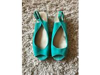Topshop green suede wedges size 7
