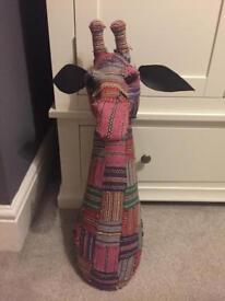 Tribal cloth giraffe head for mounting
