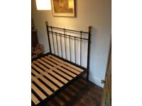 Old Fashioned Double Bed with Black Metal Frame with Bed Knobs!