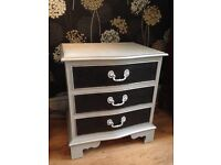 Small bow fronted chest of draws hand painted Annie Sloan Shabby chic