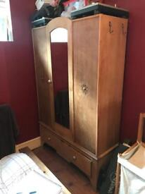 Reconditioned antique wardrobe with mirror