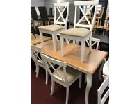 two tone table and 6 chairs
