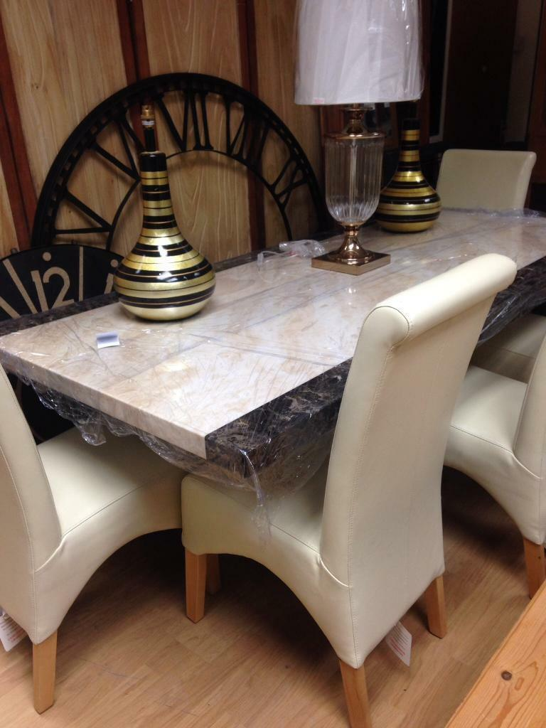 Crema and mocha marble EFFECT dining table and chairs