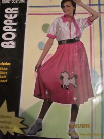 50s BOPPER / GREASE FANCY DRESS OUTFIT SIZE 12/14 INCLUDES TOP AND POODLE SKIRT