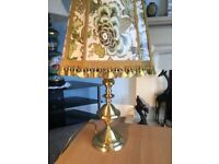 One Vintage Ornate Green & Gold Table Lamp & Floral Shade H24in/61cm W15in/38cm