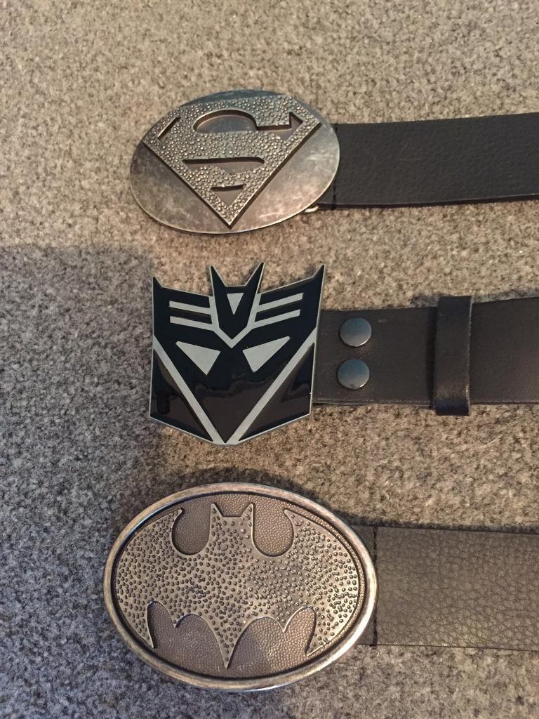 "3 x men's superhero belts all (32""-34"" waist) from America. 1 superman, 1 transformers and 1 batman"