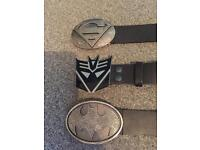 "3 x men's superhero belts all (32""-34"" waist) from America. 1 superman, 1 transformers and 1 batman"
