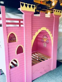 Child's Princess Castle Bunk Bed, with TV bracket, Shelving, Cup Holder and integrated large drawer.